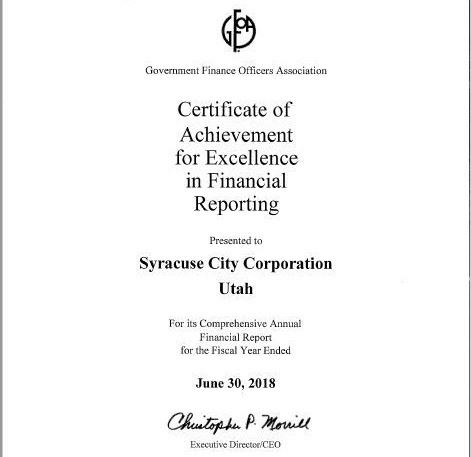 FY2018 Certificate of Excellence in Financial Reporting